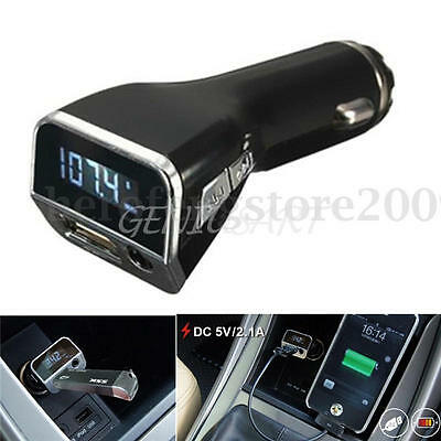 LCD Car FM Transmitter Cigarette Lighter MP3 Player USB Charger AUX Handsfree