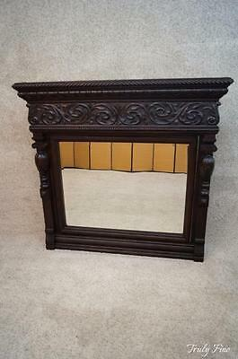 Gorgeous Monumental Deeply Carved Victorian Antique Beveled Mirror Mantle Foyer