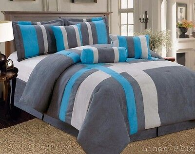 7-PC  Micro Suede Comforter Set Gray Turquoise Queen Size New