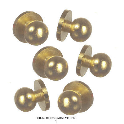 Brass Door Knobs Three Pairs, Dolls House Miniature Fixture & Fittings 6 Knobs