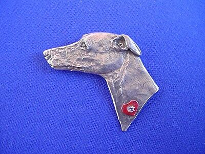 WHIPPET GREYHOUND with HEART pin #11T Pewter dog Jewelry by Cindy A. Conter