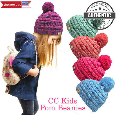 New! CC Beanie Kids Pom Pom Beanie Trendy Simple Winter Solid Cable Knit Hat
