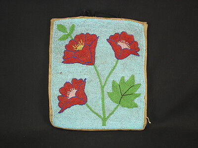 A Beaded Plateau Bag with Flowers, Native American Indian, Circa: 1920