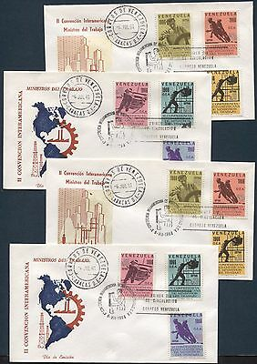 MINISTERS OF LABOR CONFERENCE ON VENEZUELA 1966 Scott 902-907, LOT of  2 FDC'S