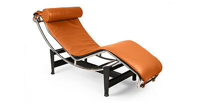 Le Corbusier Style LC4 Chaise Lounge, Caramel Aniline Leather