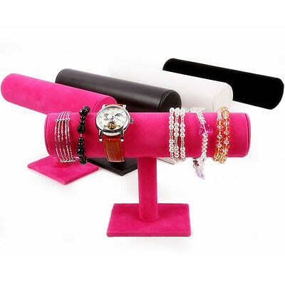 Durable Velvet Bangle Bracelet Jewelry Watch T-Bar Display Stand Holder Rack SE