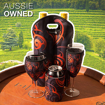 Cooler Gift Set Neoprene Wine Glass Champagne Glass Stubby Twin Bottle  ORANGE