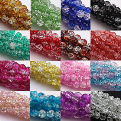 Lots Beads Two Tone Round Glass Crackle Spacer Beads Finding 4/6/8/10/12mm