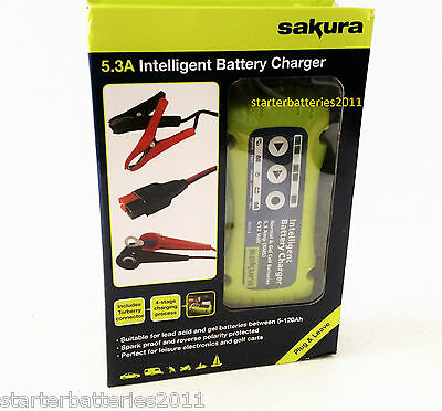 SAKURA 6V/12V 5.3A (5A) Golf Trolley Battery Charger + Torberry Lead Connector