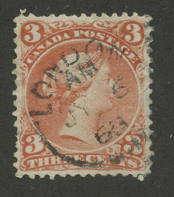 Canada 1868 Large Queen 3c red #25 VF dated CDS cancel