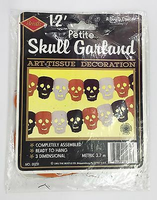 Vintage Beistle 12ft Petite Skull Garland 01231 Halloween Decorations 1991 NOS