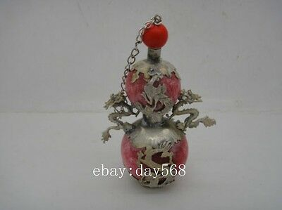 Collectible Decorated old chinese red jade perfume bottle inlay dragon phoenix
