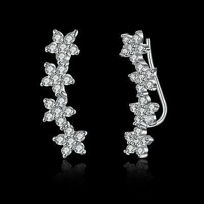 925 Sterling Silver Shiny AAA CZ Flower Hoop Earrings Noble S925 XMAS GIFTS