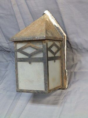 Vtg Porch Light Fixture Sconce Arts Crafts Cabin Frosted Glass Panels 1442-16