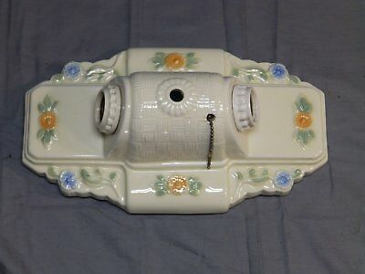 Vintage Ceramic Porcelain Ceiling Light Fixture Flush Mount Floral 1448-16