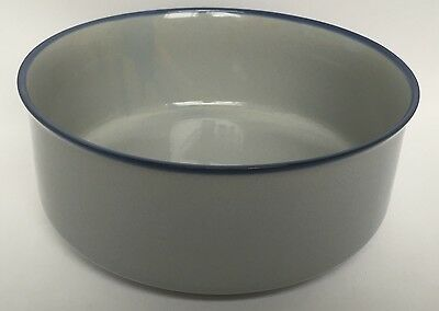 Tulowice Pottery Serving Bowl Stoneware From Poland Vintage Gray With Blue Rim