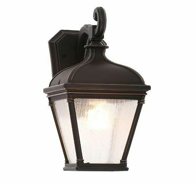 New Malford Dark Rubbed Bronze Outdoor Patio Deck Decorative Wall Mount Lantern