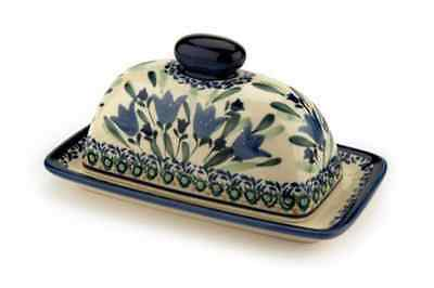 Polish Pottery Blue Tulip Butter Dish