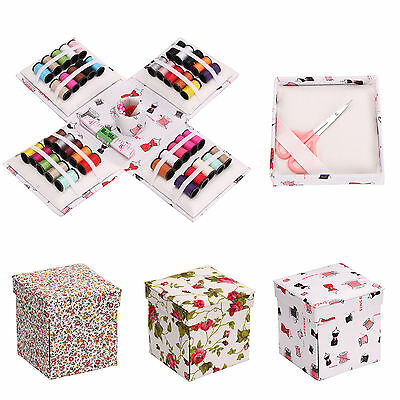 70Pcs Fold Up Box Sewing Pack Kit Needle Thread Set Tape Measure Scissor Thimble