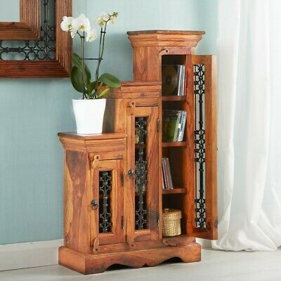 Rani Indian Rosewood Furniture Step CD Tower Cabinet Case with 1, 2 & 3 Shelves