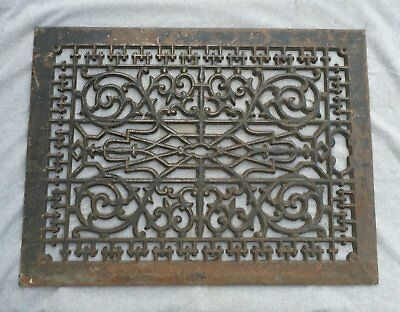 Large Antique Cast Iron Cold Air Return Vent Decorative Old 20x28 Vtg 1455-16