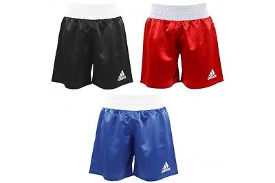 Adidas Boxing Shorts Mens Kids Womens Satin Black Red Blue Amateur Pro Cord New