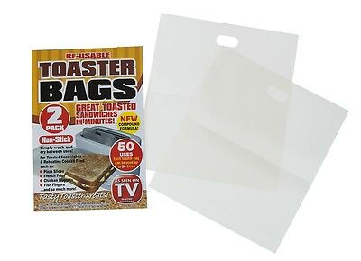 2 x Non Stick Toaster Bags Reusable Toastie Sandwich Lunch Pockets Maker Reheat