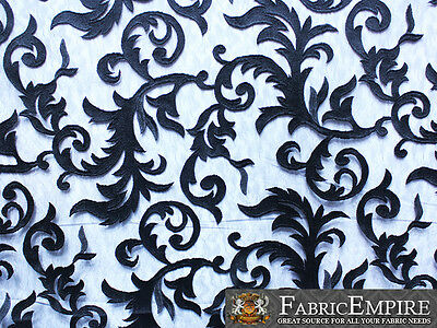 "Guipure Lace Floral Fabric Pistache BLACK / 52"" Wide / Sold by the yard"