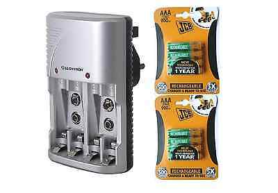 Lloytron Mains Battery Charger + 8 x JCB AAA 900 mAh Rechargeable Batteries New