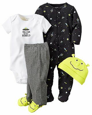 NEW NWT Boys Carter's 4 Piece Layette Set Newborn 3 6 9 Months Alien Outer Space