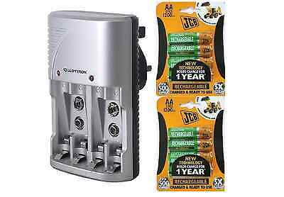 Lloytron Mains Battery Charger + 8 x JCB AA 1200 mAh Rechargeable Batteries New