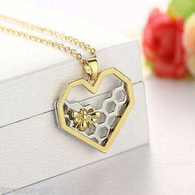 Gift Golden New Heart-shaped Bee Hive Pendant Necklace
