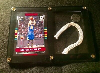 Stephen Curry Card & Game Used Net Piece from a NBA Golden State Warriors Game!