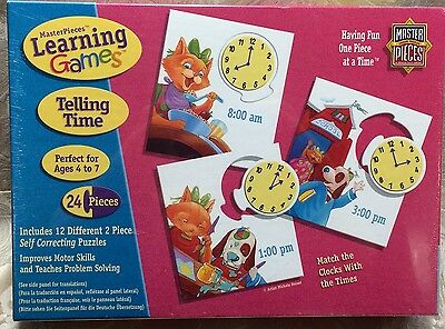 MasterPieces Learning ~ TELLING TIME ~ Time, Motor Skill, Problem Solve ~ NIB
