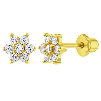 18k Gold Plated Clear CZ Flower Toddler Baby Girls Screw Back Earrings