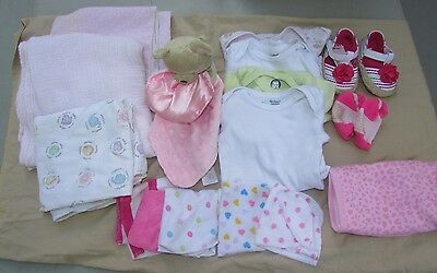 Lot of infant girl clothes 3-6M 6-9M onesie blankets washcloths (shoes-NWT)Teddy