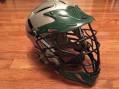 WARRIOR VIKING LACROSSE HELMET, SMALL Green Gray w/ Black Face Mask Chin Strap