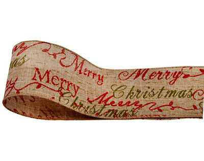 Natural Hessian Wired Ribbon Merry Christmas - 60mm x 10M