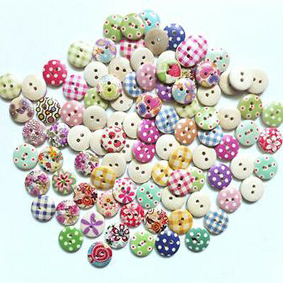 100pcs 15mm Mixed Round Pattern 2 Holes Wood Buttons Sewing Scrapbooking DIY