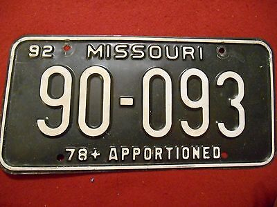 """1992 Missouri Truck """"78+ Apportioned"""" License Plate: #90-093"""
