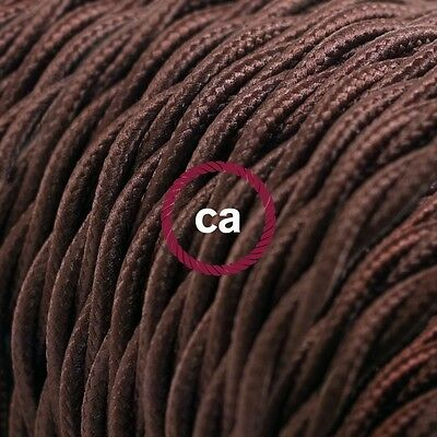 Brown Twisted Electrical fabric cloth covered Cable wire cord 1m TM13