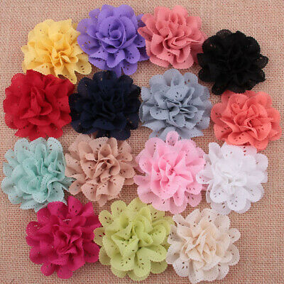 3/20/50pcs DIY Lot Baby Girls Chiffon Flower Headband Corsage Ribbon Bow No Clip
