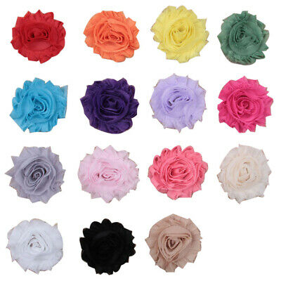 3/20/50pcs DIY Lot Baby Girls Shabby Flower Headband Corsage Ribbon Bow No Clip