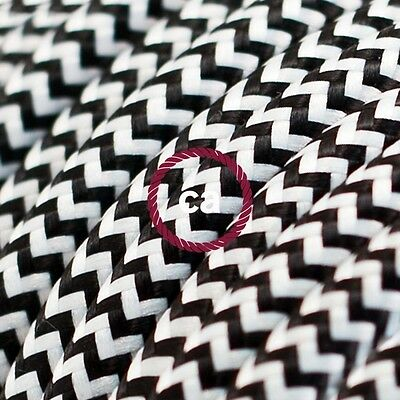 Black white ZigZag chevron cloth covered electrical cord cable 1 m