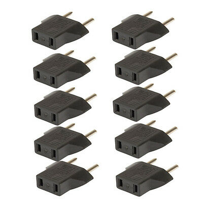 10PCS US USA to EU Euro Europe AC Power Plug Converter Travel Adapter Charger jd