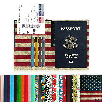 Leather Passport Holder RFID Blocking Credit Card Case Cover Travel Wallet