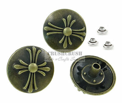 10Sets Antique Brass Round Celtic Cross Rivet Leather Concho Tack Decorate RV069