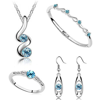 ladies silver wedding bridal gift jewellery new dangle earring necklace set JJ18