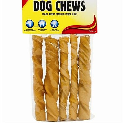 5pc Chunky Smoked Pork Twists Dog Treats Pet Care Chews Gum Teeth Health Food