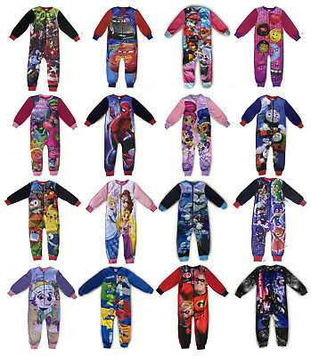Boys Girls Fleece Sleepsuit All In One Pyjamas Warm Kids Childrens Character